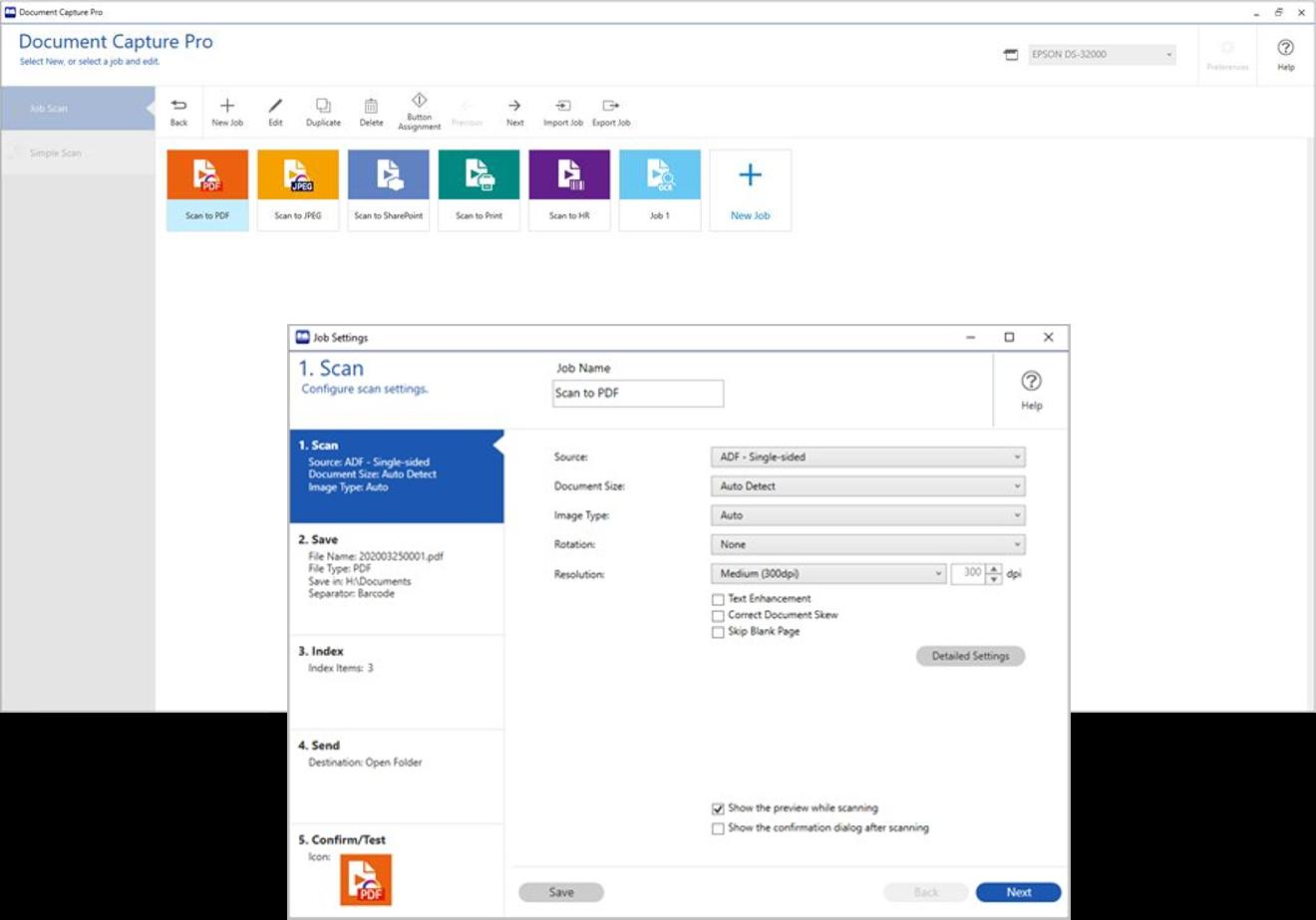 Escanea, guarda y comparte información fácilmente. Utiliza las funciones avanzadas para nombrar, separar y distribuir documentos, que harán que el escaneado sea una tarea intuitiva y simple.